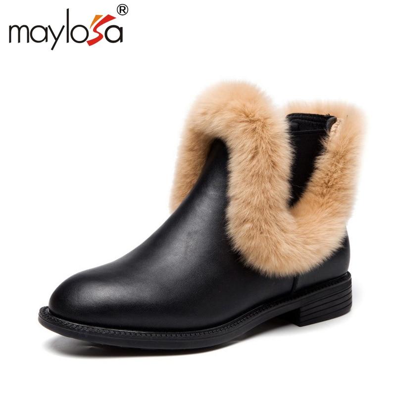 MAYLOSA New Fashion Women's Natural Fur Snow Boots 100% Genuine Leather women Boots Female Winter Shoes snow boots формочки для печенья zenker
