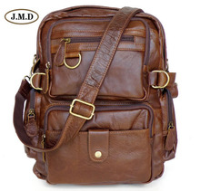 J.M.D 100% Guarantee Genuine Leather Fashion Causal Rucksack Schoolbag Multifunctional Design Travel Bag Backpack 7042
