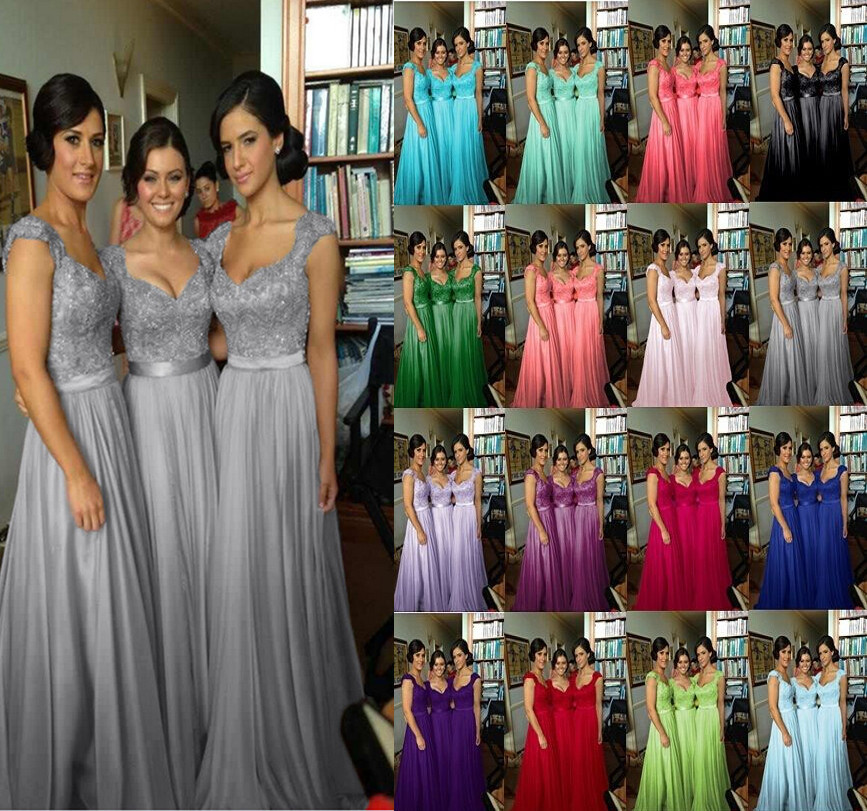 Silver Chiffon Lace Custom Made 2016 New Cap Sleeve Long Bridesmaid Dresses Formal With Ribbon Sop04 In From