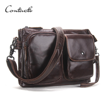 CONTACTS Vintage Men Messenger Bags High Quality Soft Genuine Leather Large Capacity Travel Men Bags Dollar Price Handsome Man