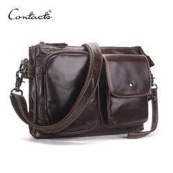 Contact's vintage homens mensageiro sacos de alta qualidade macio couro genuíno grande capacidade viagem sacos de dólar preço homem bonito