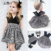 0 7Y Fashion Baby Girl Clothes Leopard Suit Lace Ruffles Sleeve Romper Dress Headband 2pcs Outfit