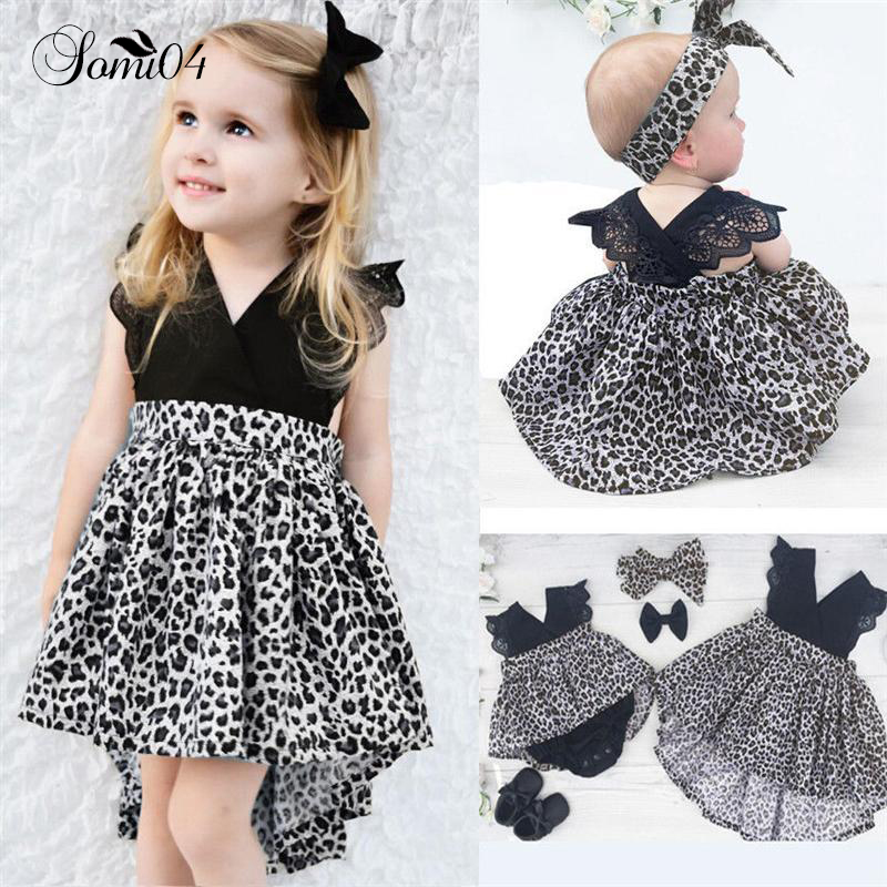 0-7T Fashion Baby Girl Clothes Leopard Suit Lace Ruffles Sleeve Romper Dress + Headband 2pcs Outfit Toddler Kids Summer Costume