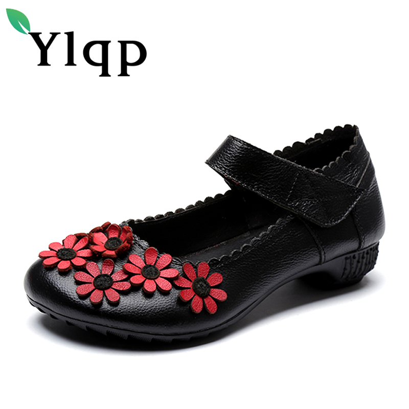 2017 New Summer Women Genuine Leather Shoes Ladies Shallow Low Heels Pumps Flowers Casual Women's Shoes Female Zapatos Mujer women s casual genuine leather shoes sheepskin block low heels pumps round adornment brown black low heels shoes for women