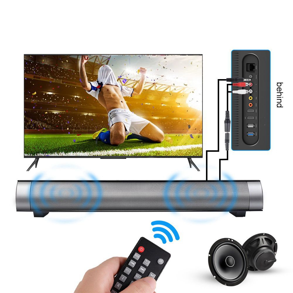 New TV Soundbar Speaker Remote Control Bluetooth Louderspeaker Dual Bass 2X5W Home Wall TV Speaker With TF Card AUX Cable cute rabbit 3w bluetooth 2 1 ch speaker w tf remote control white pink