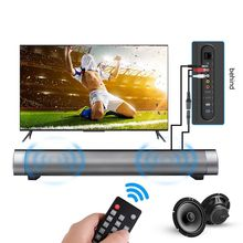 New TV Soundbar Speaker Remote Control Bluetooth Louderspeaker Dual Bass 2X5W Home Wall TV Speaker With TF Card AUX Cable