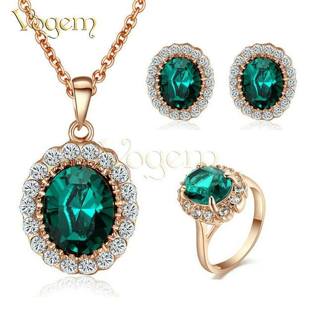 Kate middleton vogem vintage jewelry set incluindo colar de pingente brincos anel rose banhado a ouro nupcial set jóias wedding