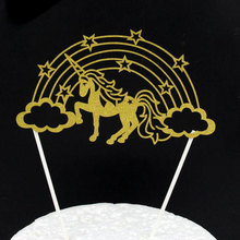 Hollow Gold Silver Unicorn Cake Topper Wedding Cupcake Decoration Picks Rainbow Horse Baby Shower Kids Birthday Party Supplies
