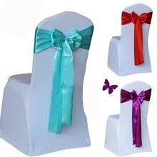 100 шт./лот, накидка на стул для свадебного торжества, лента с бантом, украшение для свадебной вечеринки, 14 цветов на выбор