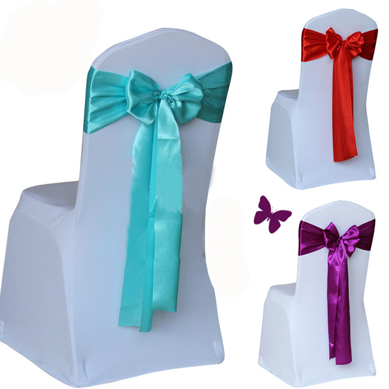 Wholesale 100pcs/lot Wedding Chair Cover Sash Bow Tie Ribbon Decoration Wedding Party Supplies 14 Color For Choose