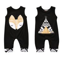 Cotton Newborn Infant Baby Boy Girl Clothing Romper Sleeveless Cotton Jumpsuit Cute Animals Clothes Outfits