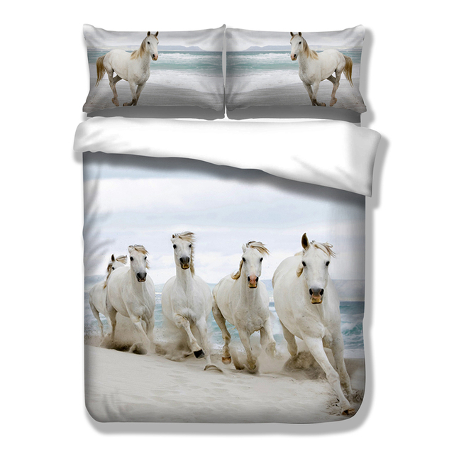 Wongsbedding White Horse Animal Bedding Set Hd Print Horses Duvet Cover Twin Full Queen King