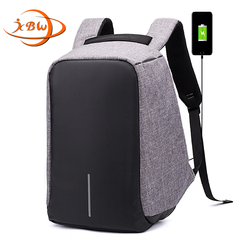 JKBW 2018 New Men Backpacks 15 Inch Laptop Backpack with Fashion Ant-theft USB Interface for Teenager School Travel Backpack