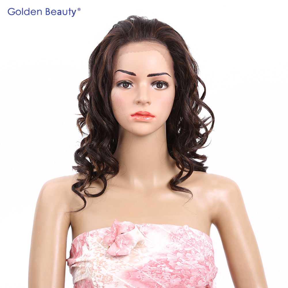 ФОТО Golden Beauty 16inch Deep Wave Lace Front Wig Synthetic Lace Frontal Wig Heat Resistant Synthetic Wigs