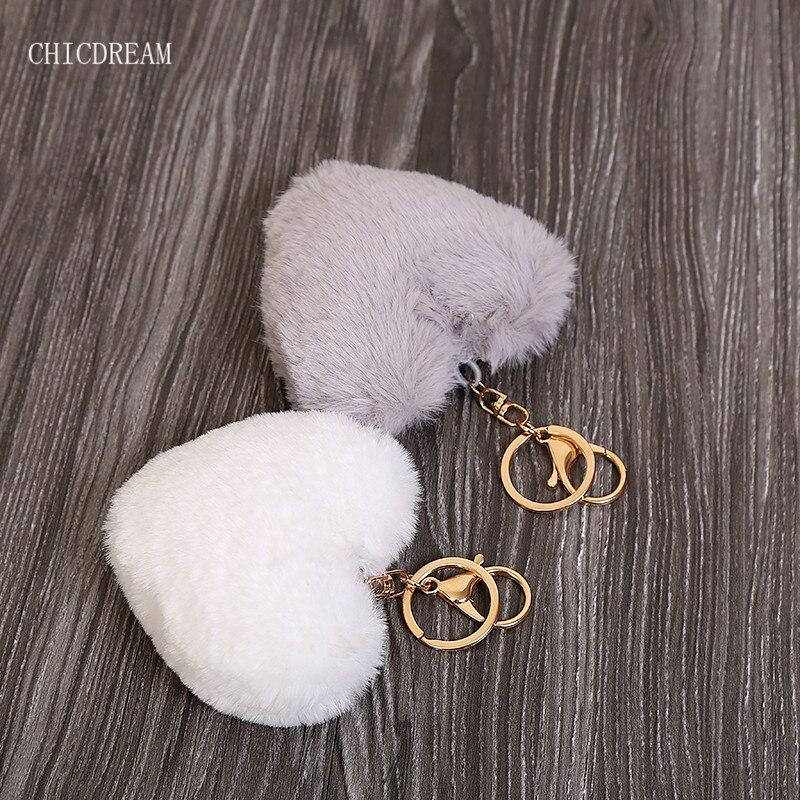 Luxury Fluffy Fur Keychain Soft Heart Lovely Heart Shape Pompons 8CM Genuine Rabbit Fur Ball Car Handbag Key Ring Multicolor