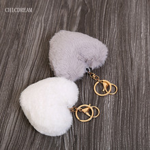 Luxury Fluffy Fur Keychain Soft Heart Lovely Heart Shape Pompons 8CM Genuine Rabbit Fur Ball Car Handbag Key Ring Multicolor