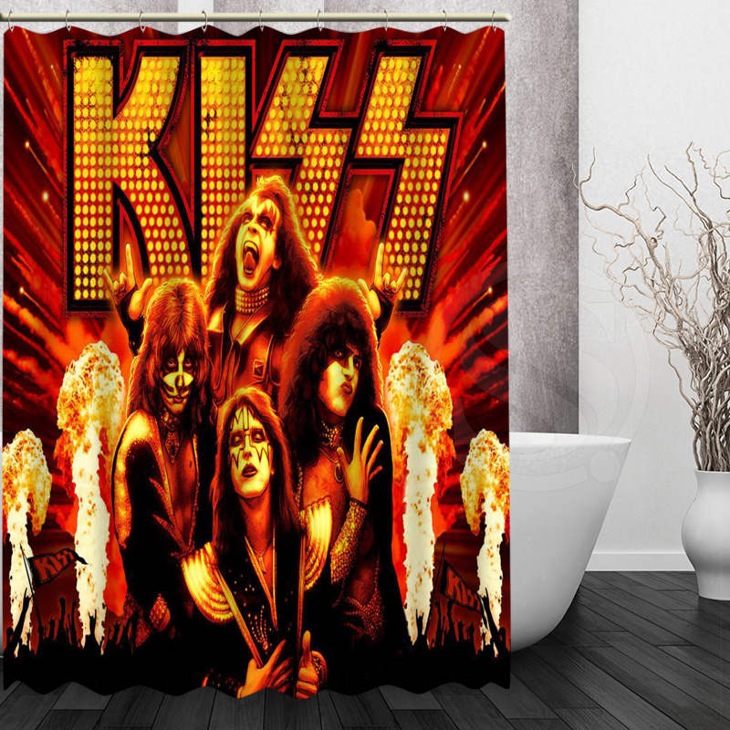 Best Nice Custom KISS Band Shower Curtain Bath Curtain Waterproof Fabric For Bathroom MORE SIZE WJY#12
