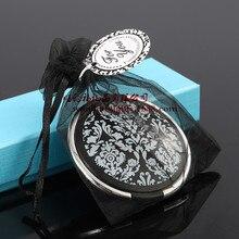 Свадебный подарок и подарки для гостей Дамаск Элегантный черный и белый макияж зеркало компактные сувениры черный карман леди зеркало