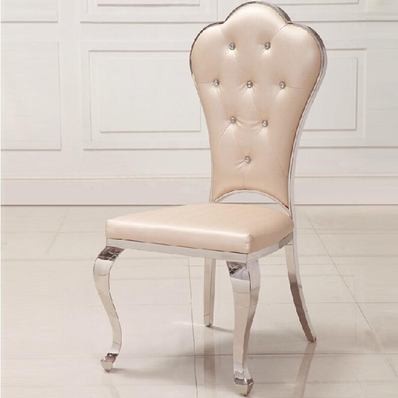 Sedia Sala Da Pranzo Pelle.Stile Europeo Semplice In Acciaio Inox Moderno Sala Da Pranzo