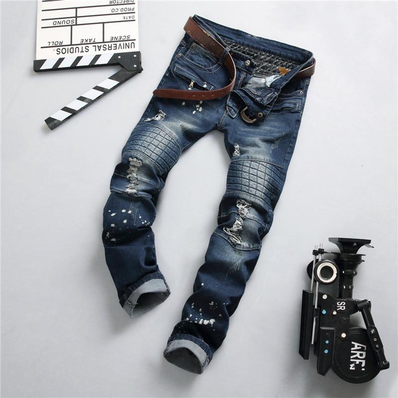 цены  Mens Distressed Motorcycle Jeans Men Denim Hiphop Joggers Ink Splash Designer Slim Fit Ripped Biker Skinny Jeans Pants For Male