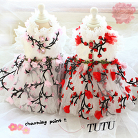 Free shipping dog clothes plum blossom gemstone layer upon layer lace dog dresses