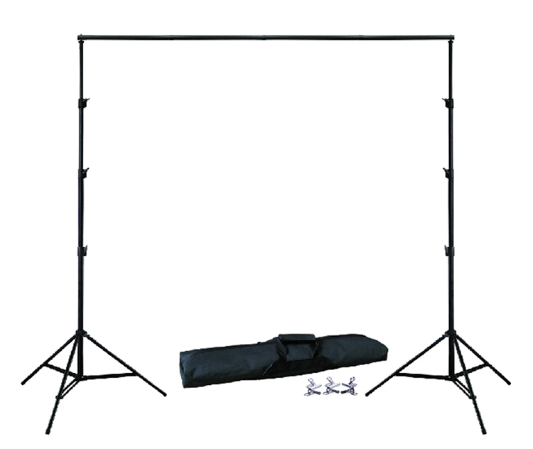 BACKGROUND HOLDER 10Ft X 6.5Ft  3M X 2M Adjustable Muslin Background Backdrop Support Stand Kit Carrying Bag 3PCS Clamps