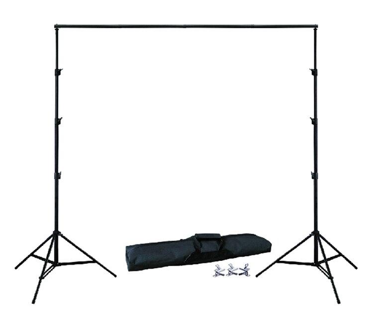 TITULAIRE DE FOND 10Ft X 6.5Ft 3 m X 2 m Réglable Muslin Backdrop Support Stand Kit Sac de Transport 3 pcs Pinces