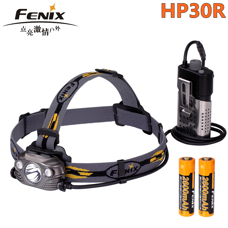 2018 New Fenix HP30R Cree XM-L2 and XP-G2 R5 LED 1750 lumens Headlamp with two Fenix ARB-L18-2600 batteries 2018 new fenix hp15 ue cree xm l2 led headlamp 900 lumens led headlight flashlight torch
