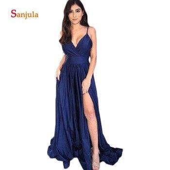 Backless Navy Blue Satin Bridesmaid Dresses Spaghetti Straps V Neck A-Line Maid of Honor Dresses Leg Slit Prom Gowns D271
