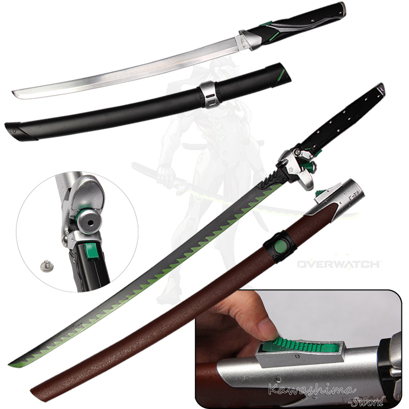 For Over Watch Cosplay Props Replica Genji Dragon Blade Real Steel Fantasy Katana Tanto 2016 New Supply clocks and colours nomad