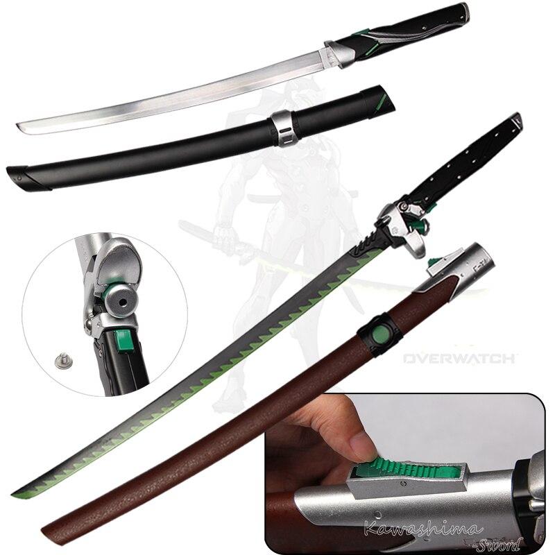 For Over Watch Cosplay Props Replica Genji Dragon Blade Real Steel Fantasy Katana/Tanto Brand New Hot Supply Decorative Sword