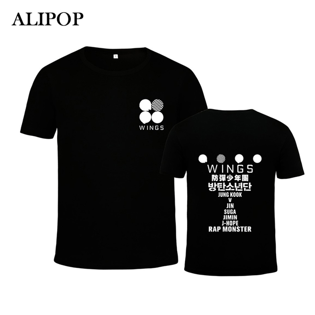 ALIPOP KPOP Corea Moda BTS Bangtan niños 2th Álbum ALAS K-POP Logo Camiseta De Algodón Camisetas Camiseta PT258