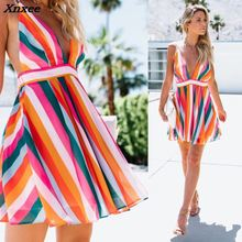 2018 Women Summer Colorful Striped Dress Deep V Neck Backless Party Xnxee