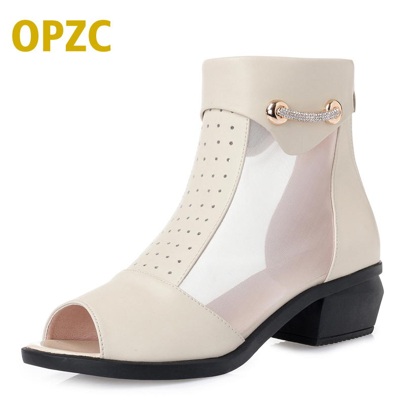 OPZC Wome Spring/Summer fashion mesh Sandals Hollow out women summer boots Plus size hollow sexy women shoes party ankle boots