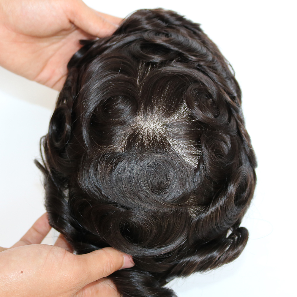 Bleached and Tiny Knots Men s Toupee Hair Replacement System Swiss Lace Remy Indian Human Hair