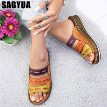 Summer women slippers Rome Retro three-color casual shoes Thick bottom wedge open toe sandals beach slip on slides female Z288