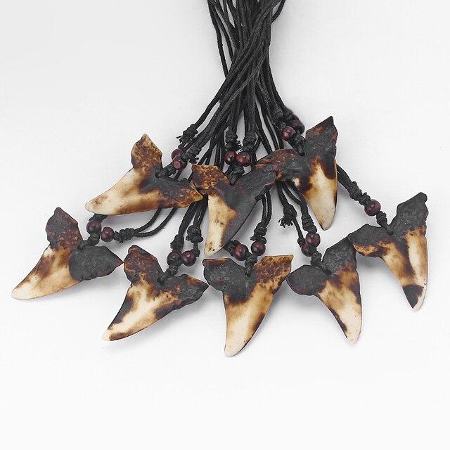 Оптовая продажа 6 шт искусственная яка кость коричневая Акула Зуб Подвеска «зуб» Смола ожерелье Регулируемый Серфер ювелирные изделия