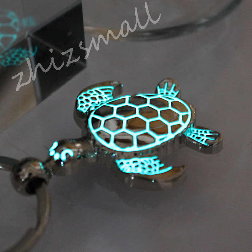 Glowing sea turtle keychain Turtle keychain tortoise key ring GLOW in the DARK Luminous keychain Pendants