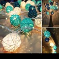 35pcs White Blue Green Sepak Takraw Rattan Balls Lights Strip Nightlight Garland for Wedding New Year christmas lights outdoor