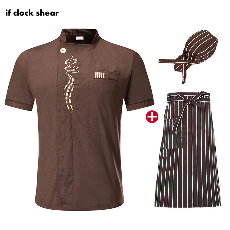 IF Chef Restaurant Uniform Unisex Short Sleeve Hotel Kitchen Work Clothes Breathable Thin Chef Jacket M-4XL  Ladies Chef Shirts