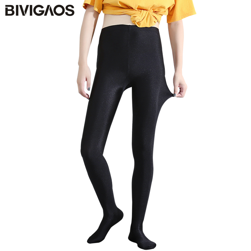 BIVIGAOS Chinlon Lustrous Bokong Hitam Wanita Tinggi Elastik Shaping Pants kurus Slim Legging Sexy Workout Leggings Women