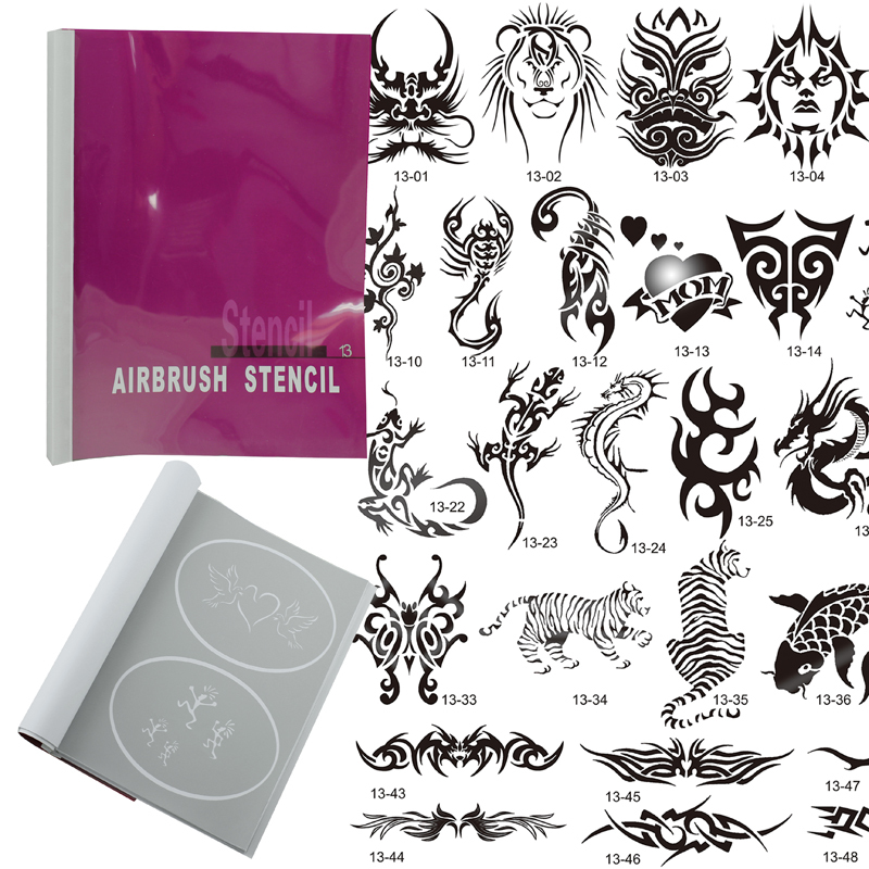 OPHIR 52 Patterns Airbrush Temporary Tattoo Stencils Set for Airbrushing Art Booklet Body Tattoo Art/ Body Paint Stencils _STE13