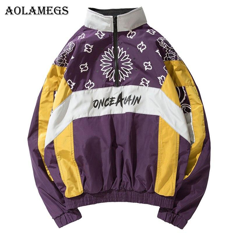 Aolamegs Jackets Men Cashew Flowers Print Patchwork Jacket Tracksuit Half Zipper Coats Hip Hop Male Windbreaker Brand Streetwear