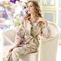 Mulheres Pijama de Algodão puro Primavera E No Outono Sleepwear Feminino Floral Longo-Sleeved Pijama Conjuntos de Pijama Com Decote Em V Set Lounge 9643