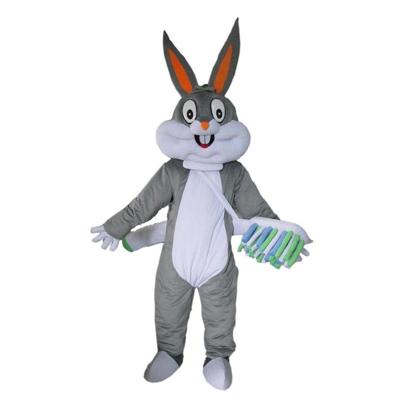 Взрослый серый кролик Багз Банни талисмана карнавал коммерческой рекламы вечернее платье с мини вентилятор внутри головы