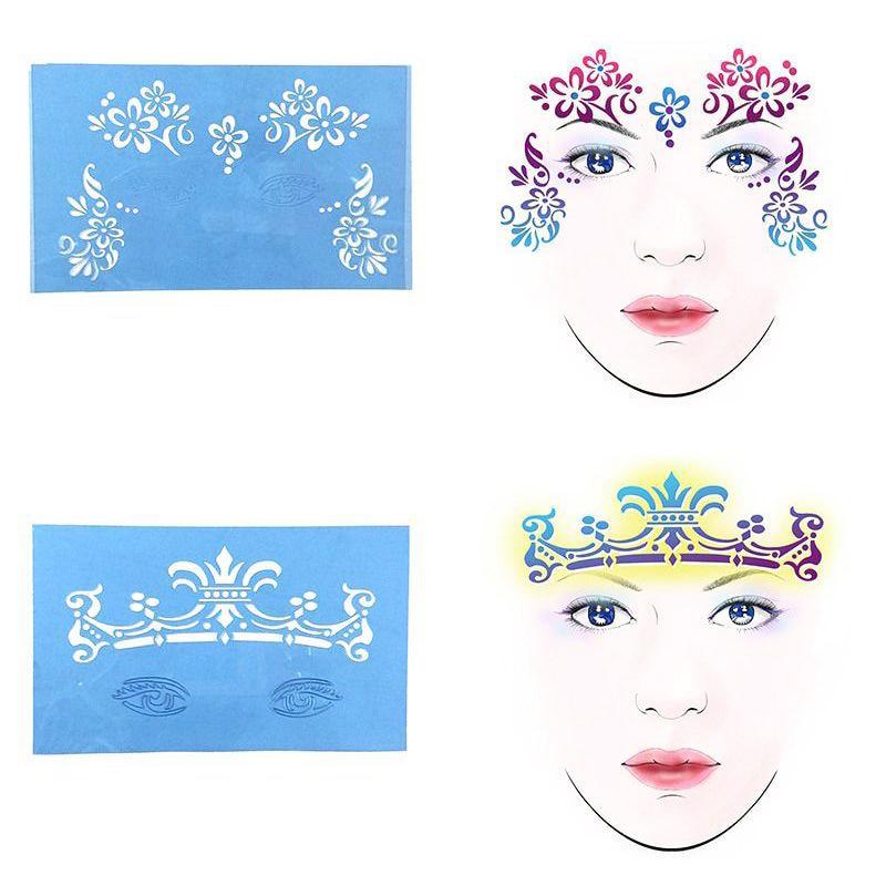 10Pack Reusable Face Painting Body Art Stencil Template Xmas Festival Makeup