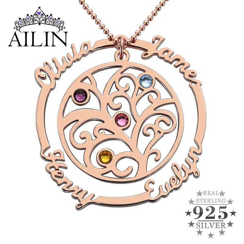 AILIN Family Tree Necklace with Birthstone In Rose Gold Hand Stamped Mother Necklace Birthstone Necklace for Mom Grandmother цена и фото