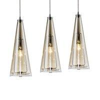 ใหม่LED 3ไฟแก้วคริสตัลแขวนโคมไฟยาวกรวยจี้โคมไฟบันไดห้องสมุดสตูดิโอศิลปะไฟตกแต่งโคมไ
