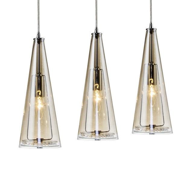 Nuovo led 3 luci di cristallo di vetro lampade a for Lampade cucina design