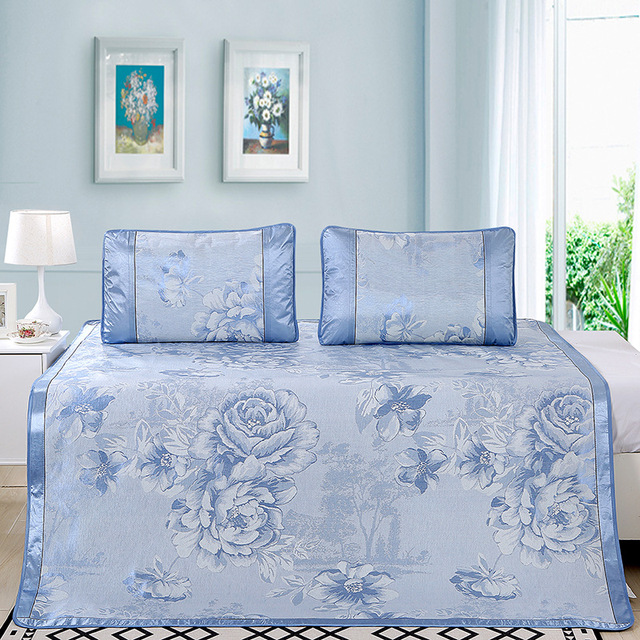 New Summer Ice Cold Feeling Bed Sheet Ventilation Peony Rose Jacquard Weave Sheets And Pillowcase Home Textile Non Slip